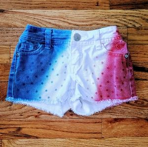 Red white & blue flag Fourth of July Jean shorts